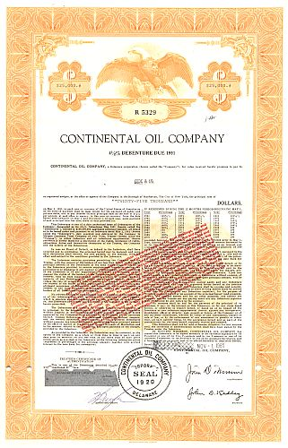 Continental Oil Company (Adler) historic stocks - old certificates