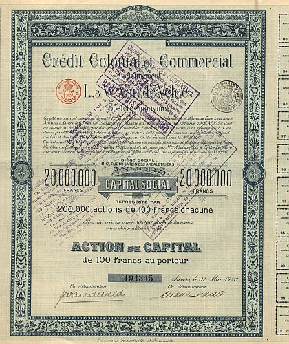 Credit Colonial et Commercial historic stocks - old certificates