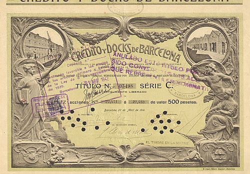 Credito y Docks de Barcelona -  historic stocks - old certificates Banks and Insurance