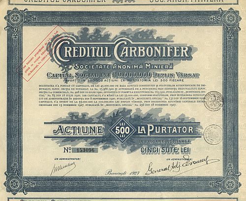 Creditul Carbonifer historic stocks - old certificates