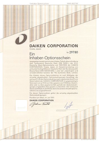 Daiken Corporation historic stocks - old certificates