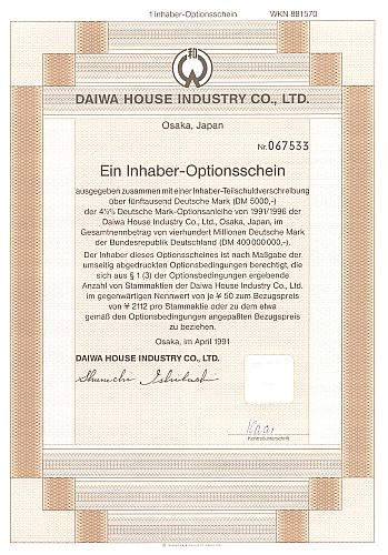 Daiwa House Industry Co. historic stocks - old certificates