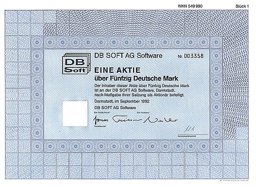 DB Soft AG Software historic stocks - old certificates