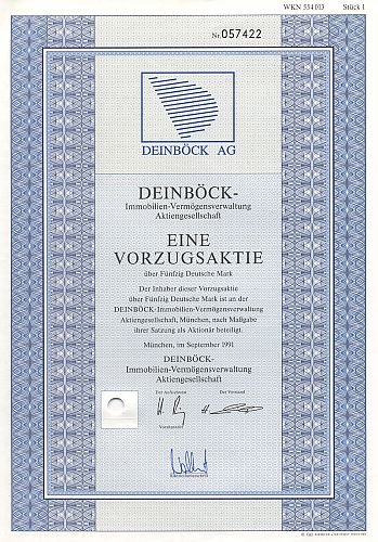Deinböck-Immobilien-Vermögensverwaltung historic stocks - old certificates