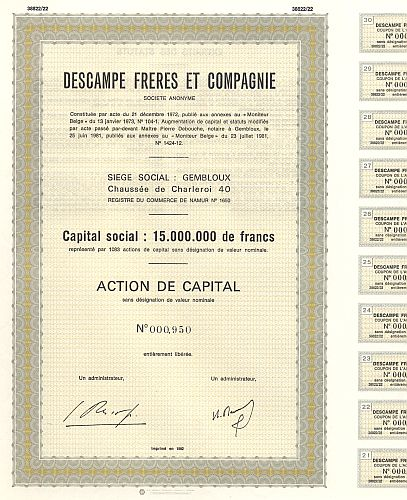 Descampe Freres et Compagnie historic stocks - old certificates