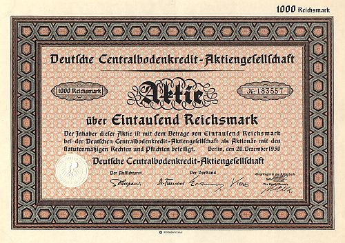 Deutsche Centralbodenkredit-Aktiengesellschaft historic stocks - old certificates