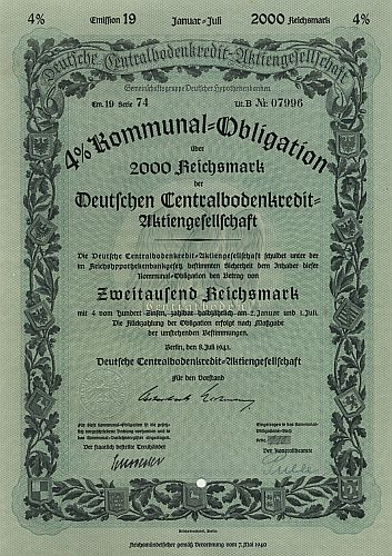 Deutsche Centralbodenkredit-Aktiengesellschaft (Juli 1941) historic stocks - old certificates