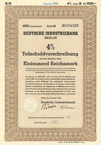 Deutsche Industriebank historic stocks - old certificates