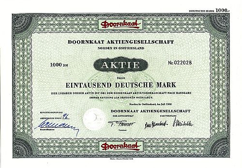Doornkaat Aktiengesellschaft (Querformat) historic stocks - old certificates