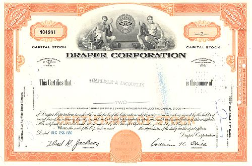Draper Corporation historic stocks - old certificates