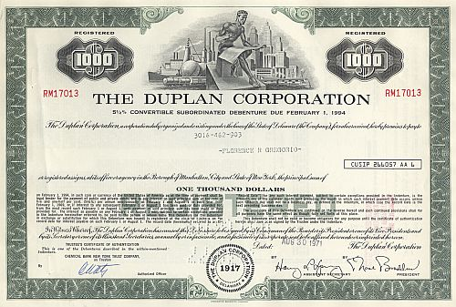 Duplan Corporation historic stocks - old certificates