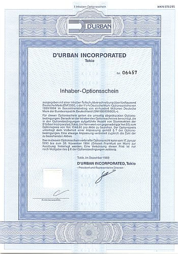 D'Urban Incorportated historic stocks - old certificates