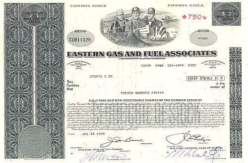 Eastern Gas and Fuel Associates historische Wertpapiere - alte Aktien