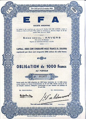 EFA historic stocks - old certificates