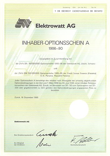 Elektrowatt AG (Schein A) historic stocks - old certificates