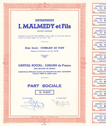 Entreprises I.MALMEDY et Fils historic stocks - old certificates