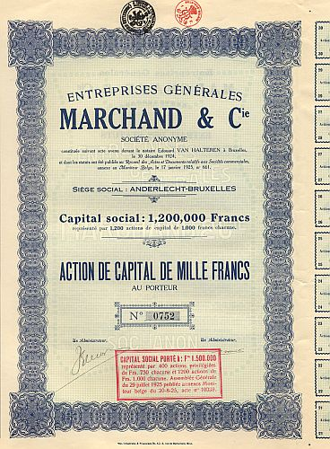 Entreprises Generales Marchand & Cie historic stocks - old certificates