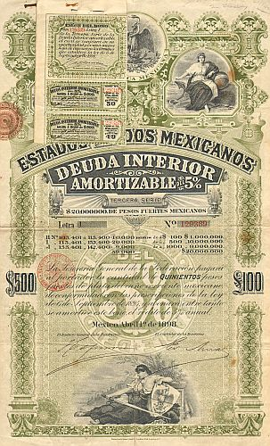 Estados Unidos Mexicanos (United States of Mexico) 1898 500$