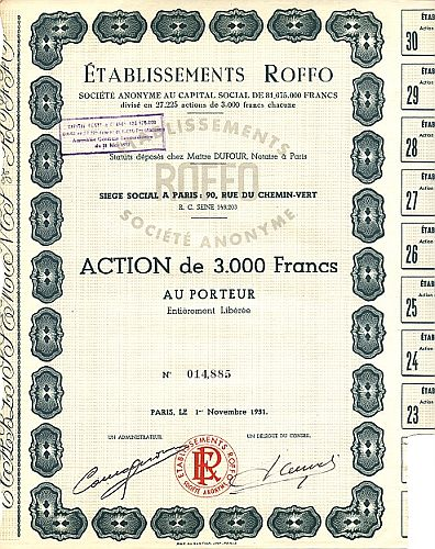 Etablissements Roffo historic stocks - old certificates