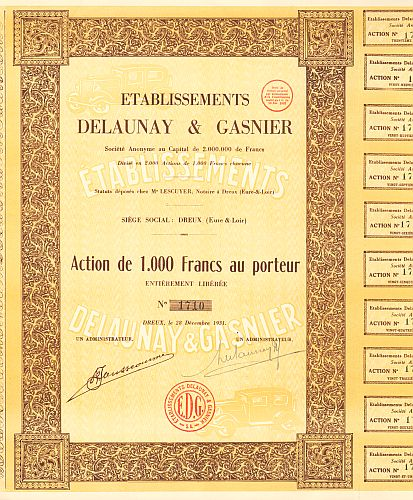 Etablissements Delaunay & Gasnier -  historic stocks - old certificates Automobiles