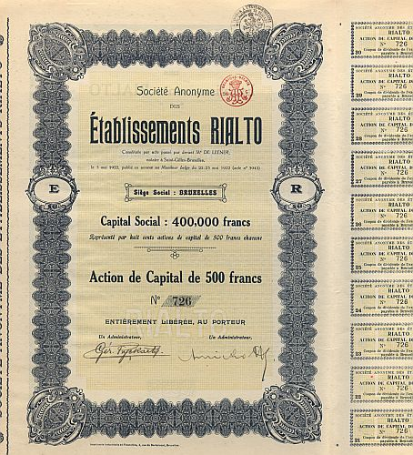 Etablissements Rialto (Rialto Film) historic stocks - old certificates