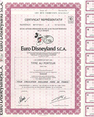 Euro Disneyland S.C.A. historic stocks - old certificates