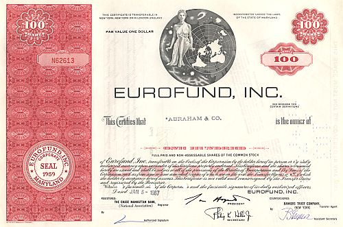 Eurofund, Inc. (Bild mitte) historic stocks - old certificates