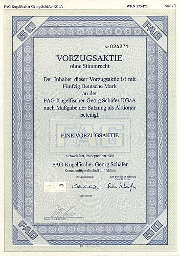 FAG Kugelfischer Georg Schäfer KGaA historic stocks - old certificates