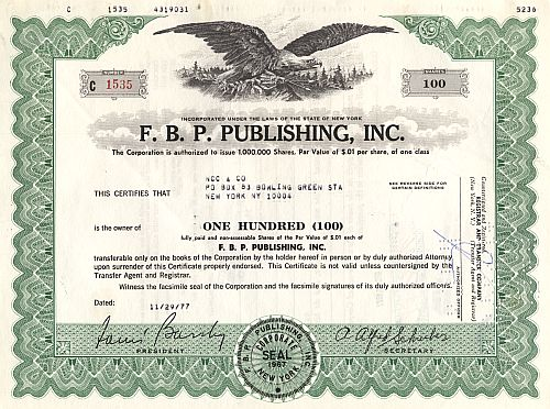 F.B.P. Publishing, Inc. historic stocks - old certificates