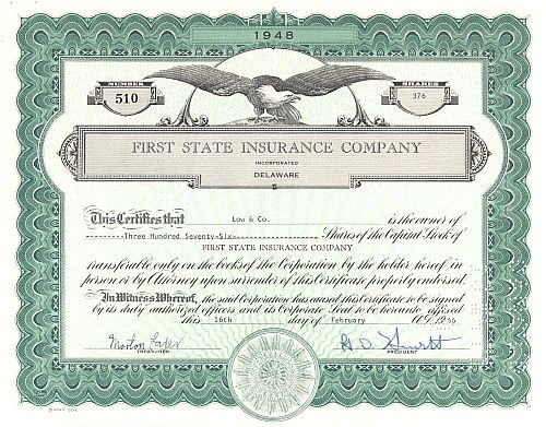 First State Insurance Company historic stocks - old certificates