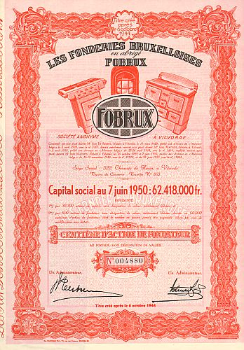 Les Fonderies Bruxelloises - Fobrux  historic stocks - old certificates