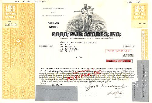 Food Fair Store, Inc. historic stocks - old certificates
