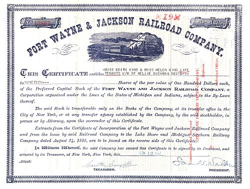 Fort Wayne & Jackson Railroad Company historic stocks - old certificates