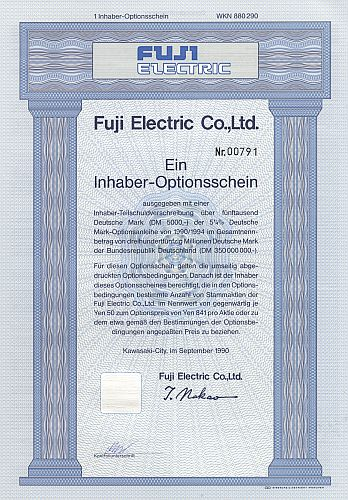 Fuji Electric historic stocks - old certificates