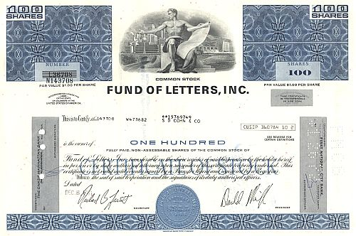 Fund of Letters, Inc. historic stocks - old certificates