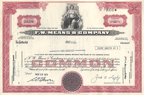 F.W. Means & Company historic stocks - old certificates