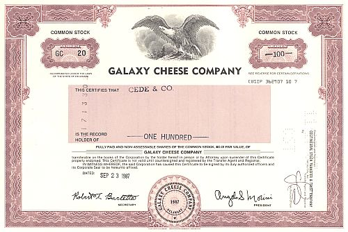 Galaxy Cheese Company historic stocks - old certificates