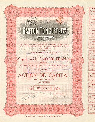Gaston Tonglet & Cie. -  historic stocks - old certificates Automobiles
