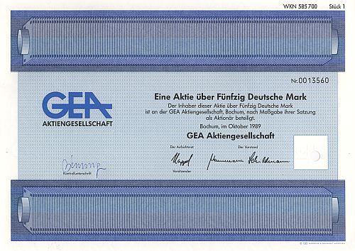 GEA Aktiengesellschaft historic stocks - old certificates