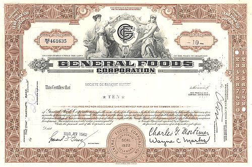 General Foods Corporation historische Wertpapiere - alte Aktien
