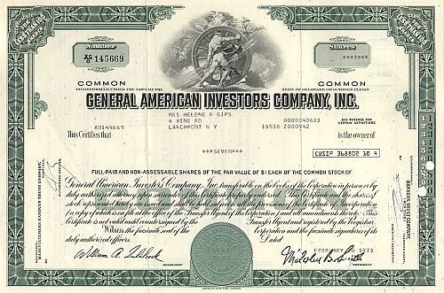 General American Investors Company historic stocks - old certificates