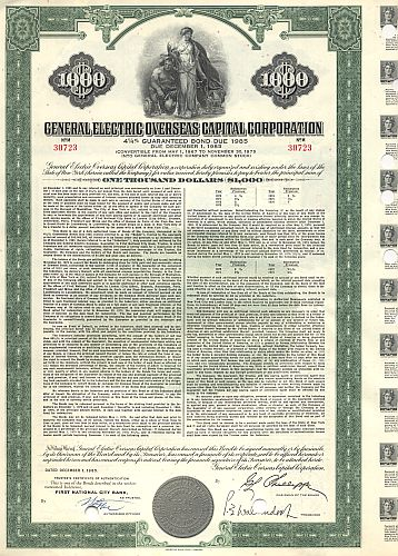 General Electric Overseas Capital Corporation historic stocks - old certificates