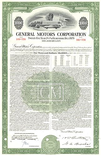 General Motors Corporation historic stocks - old certificates