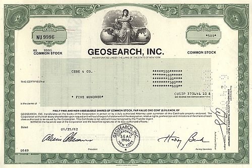 Geosearch Inc. historic stocks - old certificates