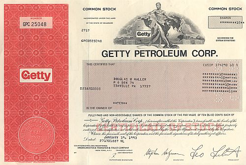 Getty Petroleum Corp. historic stocks - old certificates