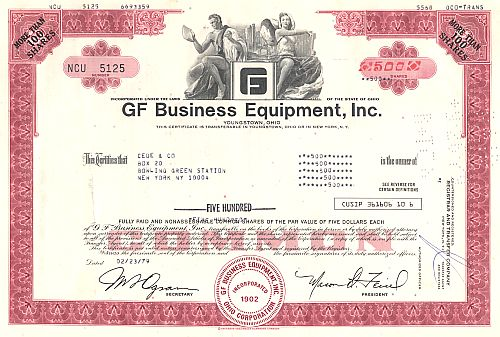 GF Business Equipment Inc. historische Wertpapiere - alte Aktien