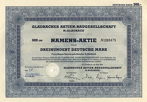 Gladbacher Aktien-Baugesellschaft historic stocks - old certificates