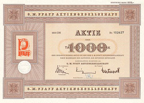 G.M.Pfaff Aktiengesellschaft (1972) historic stocks - old certificates