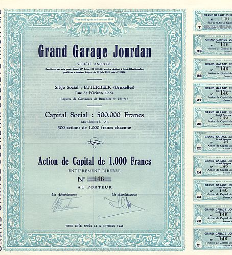 Grand Garage Jourdan historic stocks - old certificates