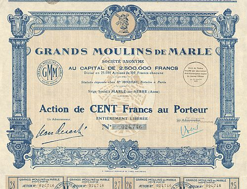 Grands Moulins de Marle  historic stocks - old certificates